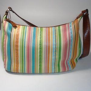Fossil Pastel Carnival Striped Shoulder Bag Purse